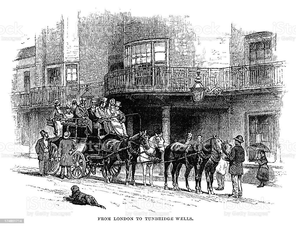 London to Tunbridge Wells stagecoach royalty-free stock vector art