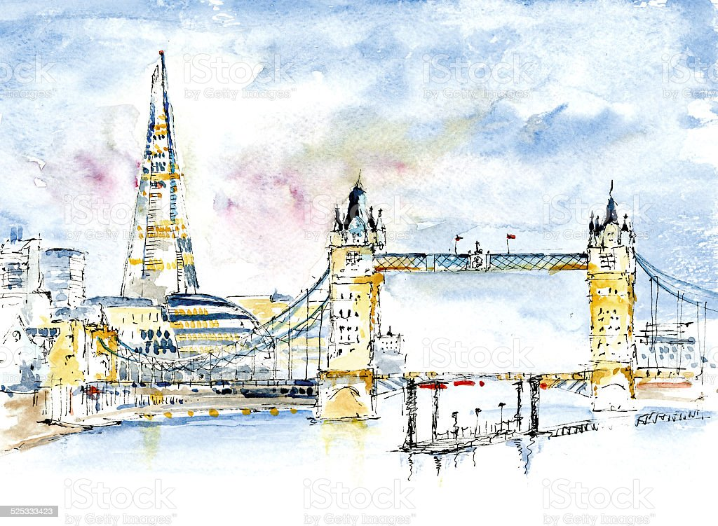 London's Shard, London Bridge, Tower Bridge, Tower Hall vector art illustration