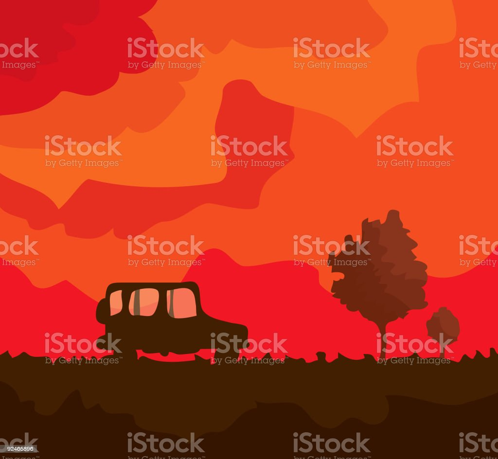 Lone Car vector art illustration