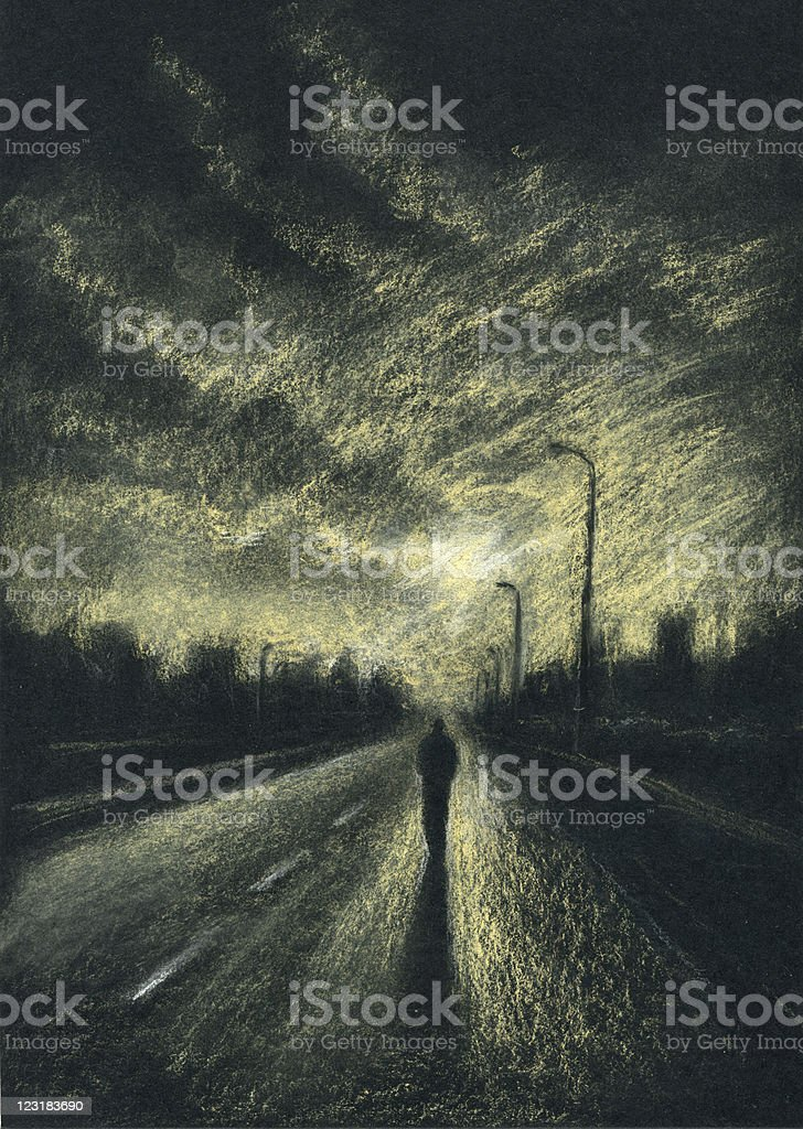 Lone passersby on the night road vector art illustration