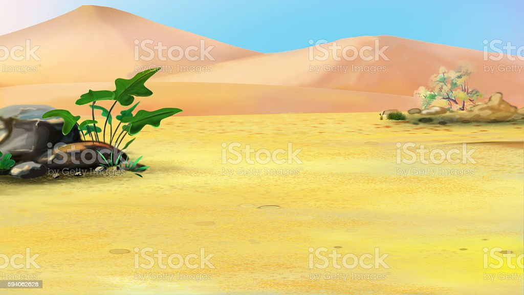 Lonely Plant in a Desert vector art illustration