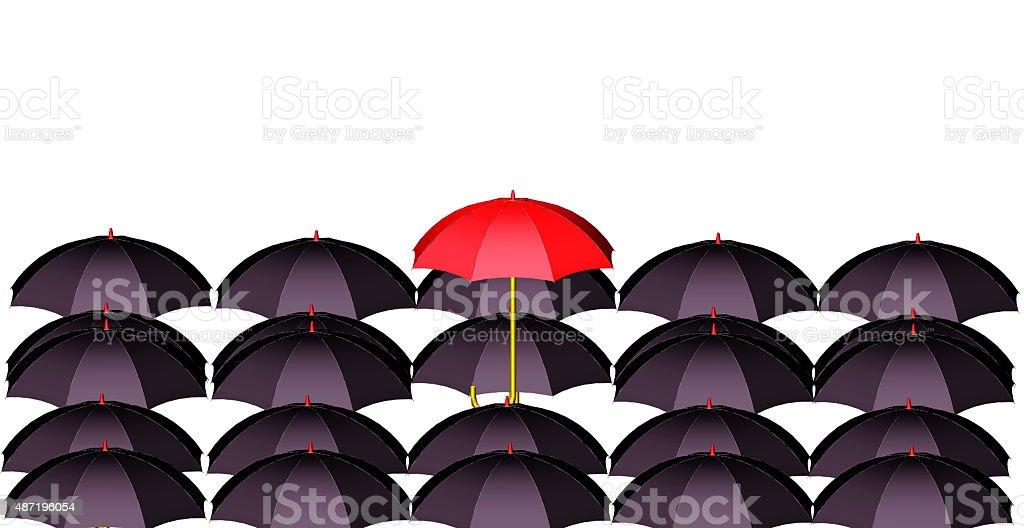 Lonely red umbrella vector art illustration
