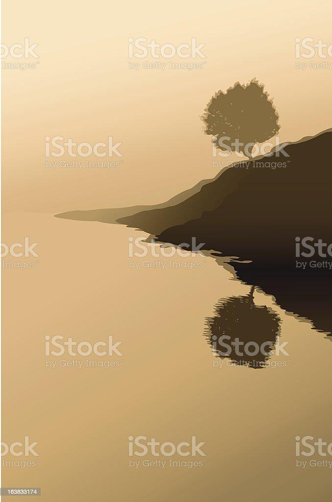 lonely tree vector art illustration