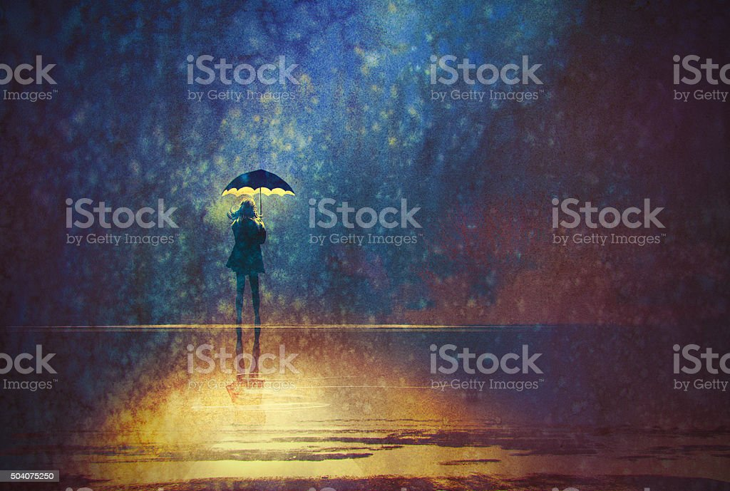 lonely woman under umbrella lights in the dark vector art illustration