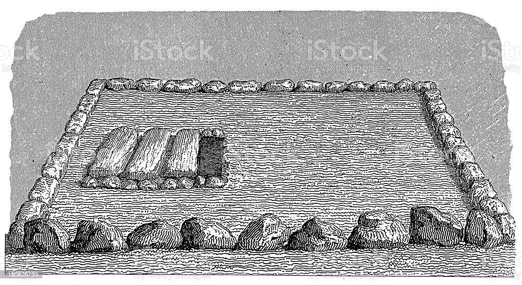 Long barrow in Mecklenburg, Germany (antique wood engraving) royalty-free stock vector art