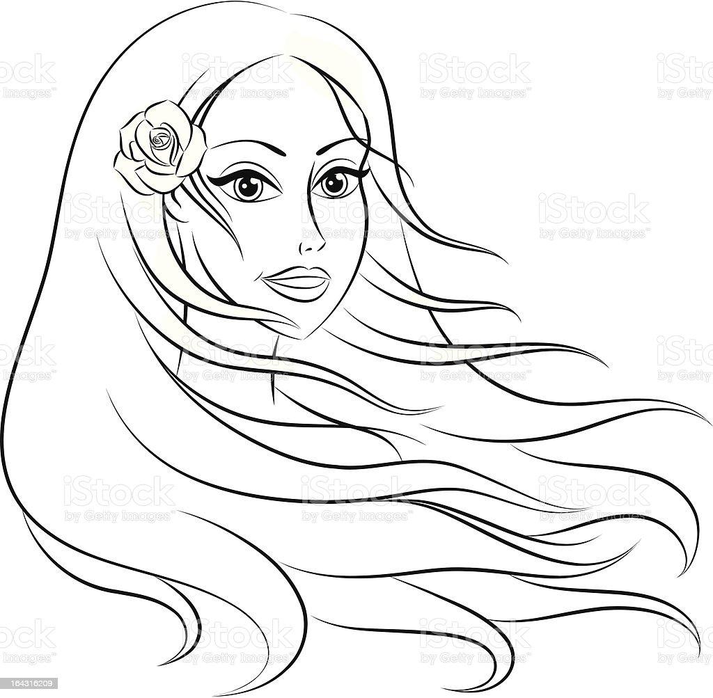 Long hair. royalty-free stock vector art