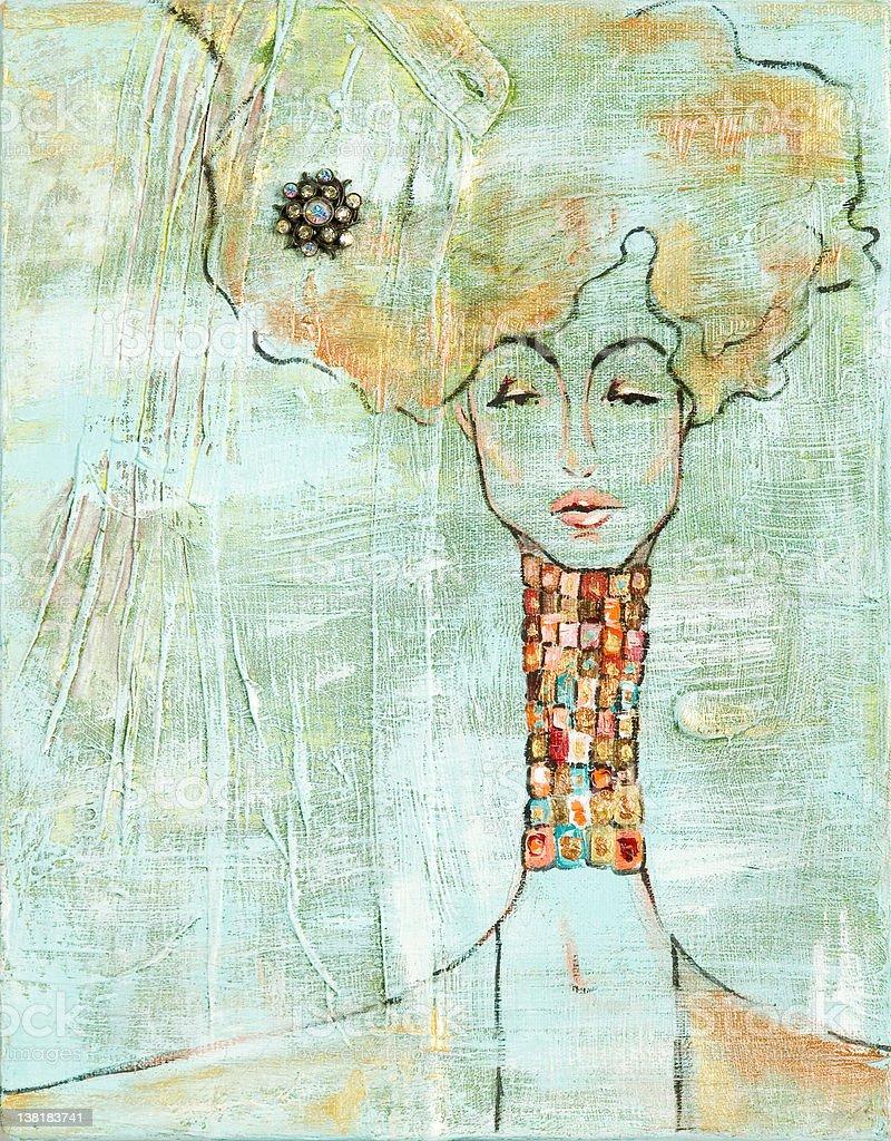 Long neck woman royalty-free stock vector art