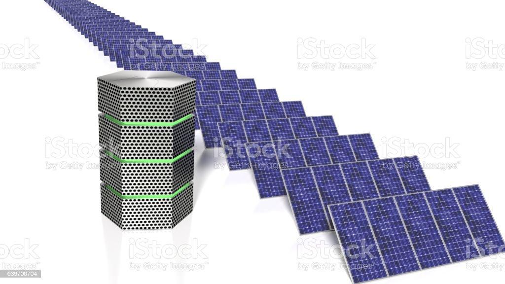 Long row of solar panels next to green glowing supercomputer vector art illustration