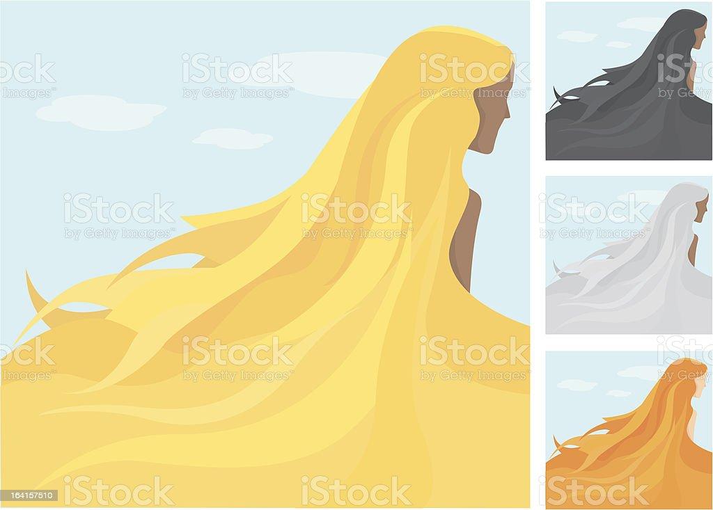 Long summer hair royalty-free stock vector art