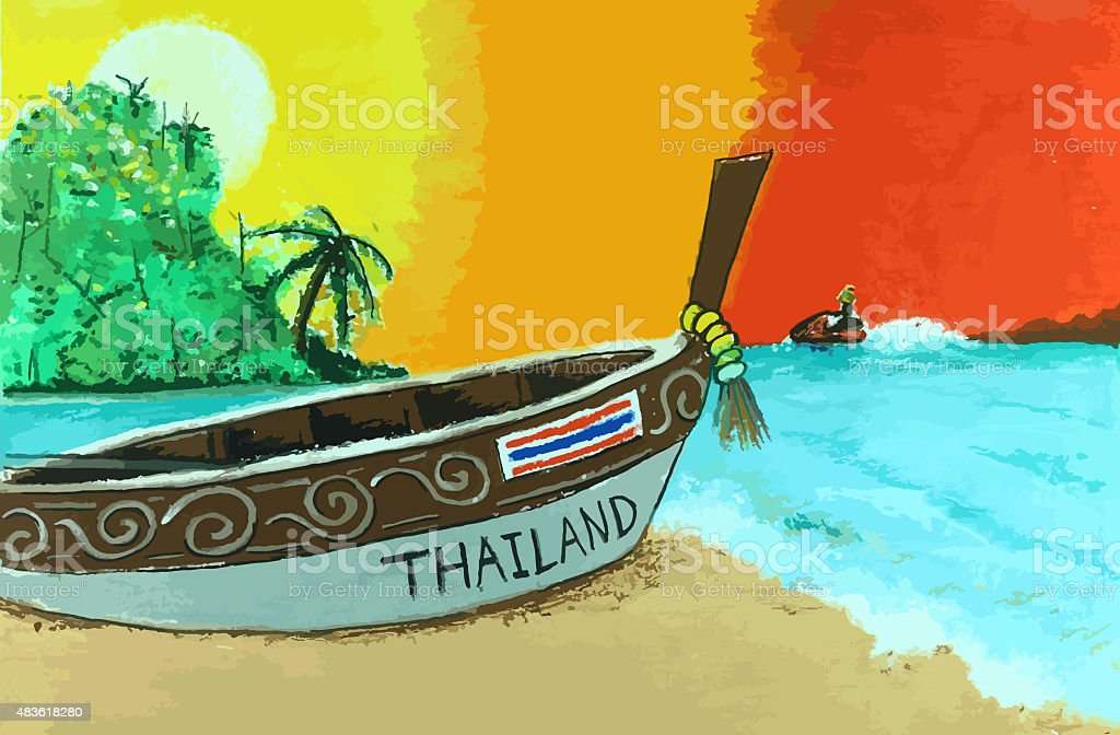 long tail boat with beatiful sea painting background vector art illustration