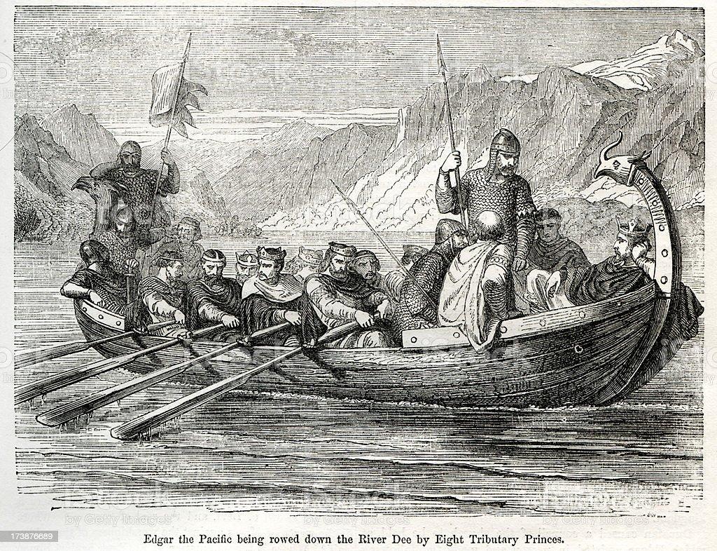 Longboat vector art illustration