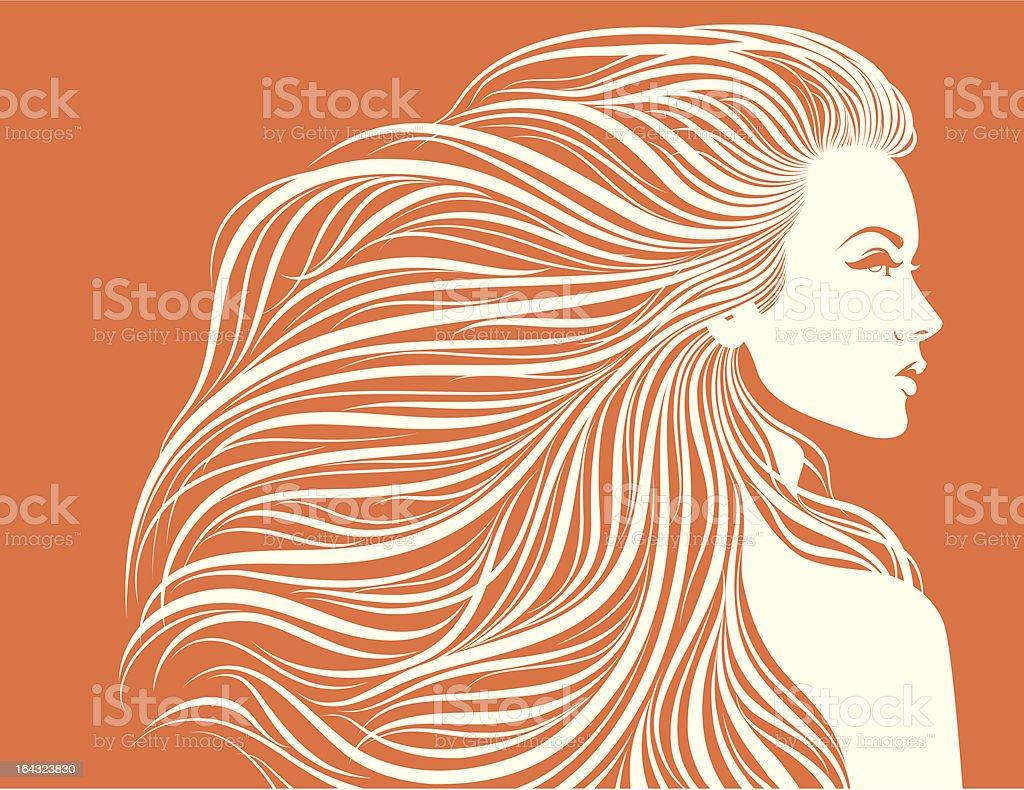Long-haired sexy girl. vector art illustration