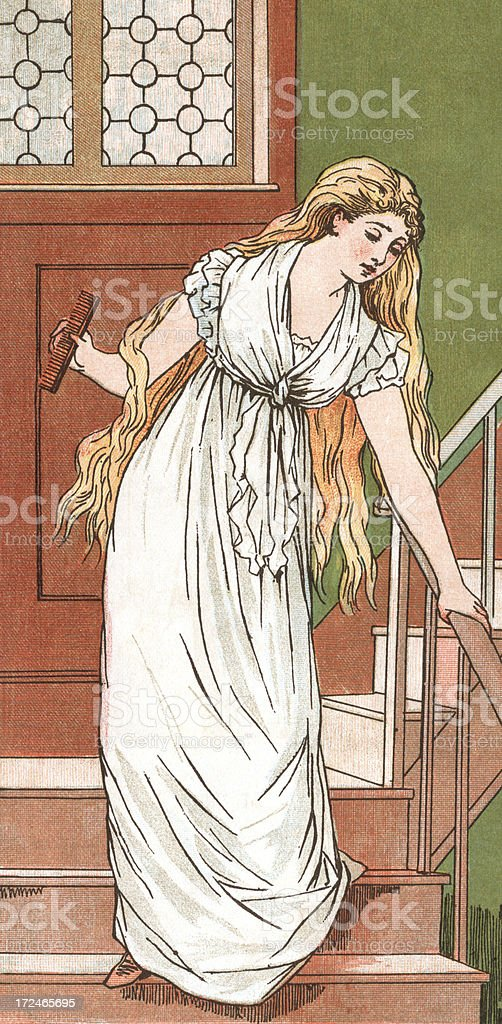 Long-haired woman descending a staircase vector art illustration