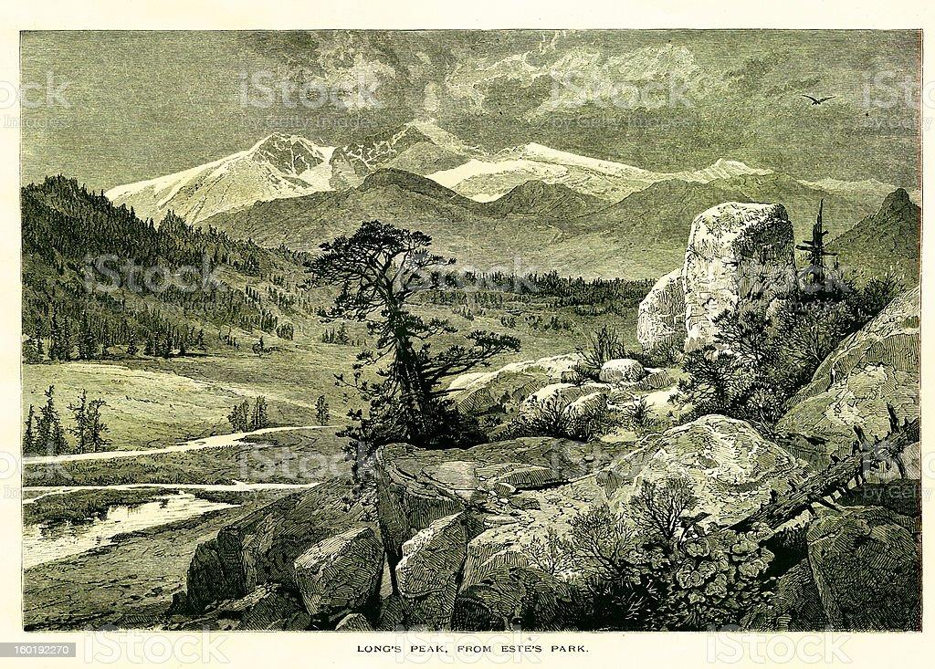 Longs Peak, Colorado royalty-free stock vector art
