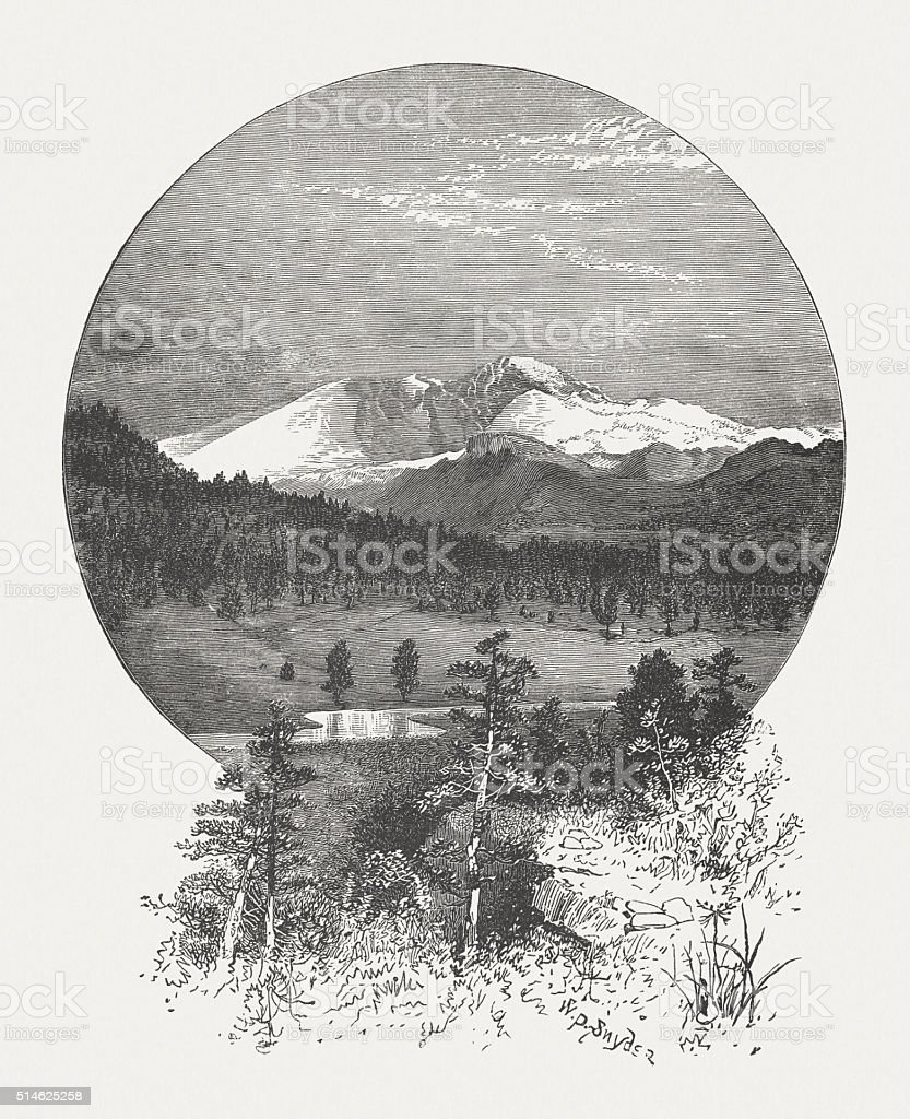 Longs Peak Mountain, Rocky Mountains, Colorado, USA, published in 1880 vector art illustration