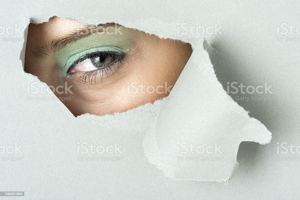 looking out through hole vector art illustration