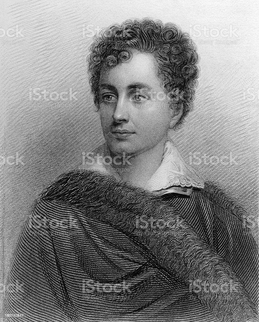 Lord Byron - Antique Engraved Portrait royalty-free stock vector art