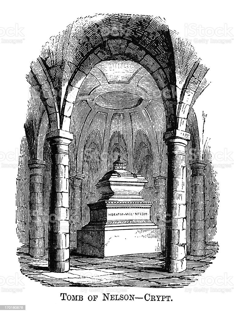 Lord Nelson's tomb, St Paul's crypt (1871 engraving) vector art illustration