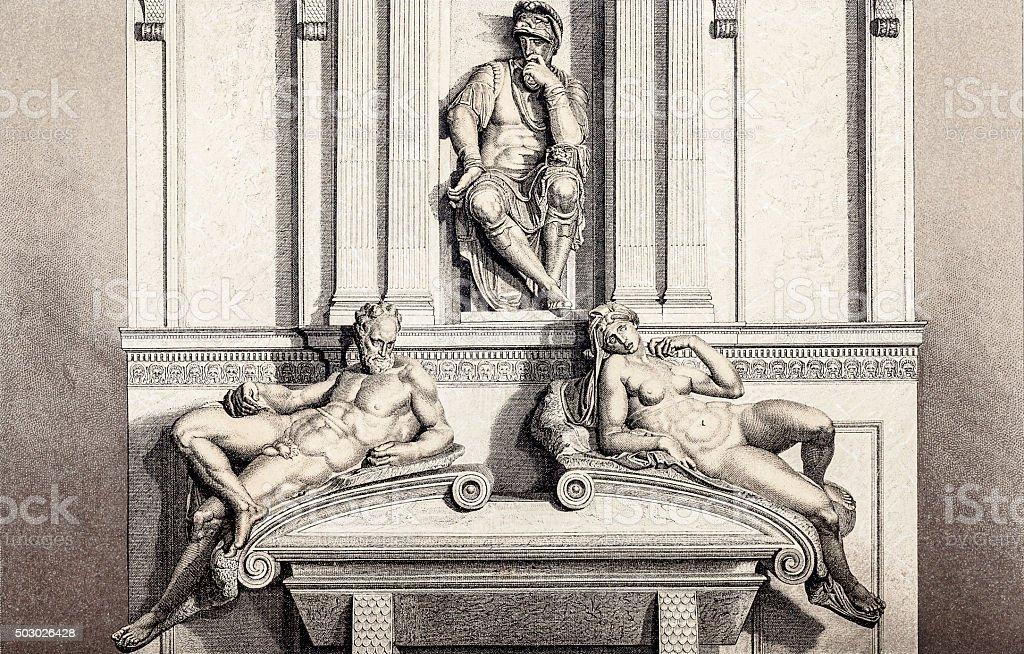 Lorenzo de' Medici tomb vector art illustration