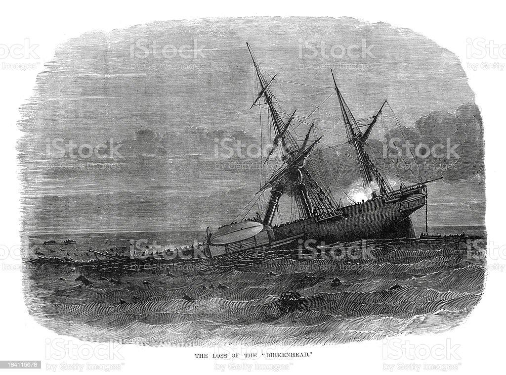 Loss of the HMS Birkenhead vector art illustration