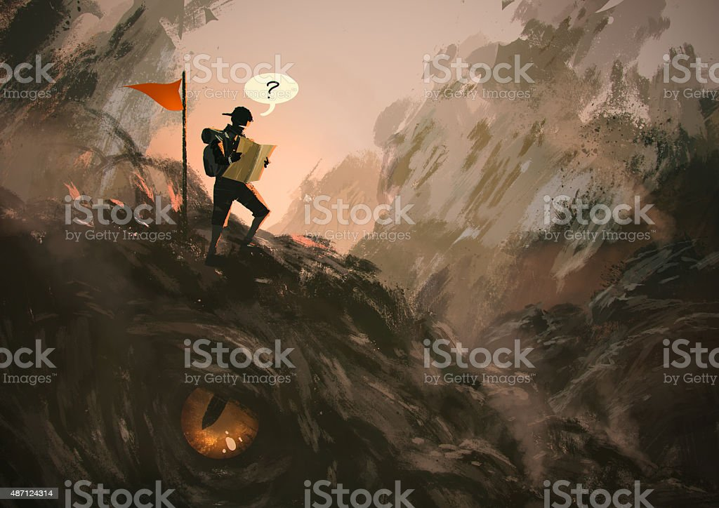 lost hiker with backpack looking at map vector art illustration