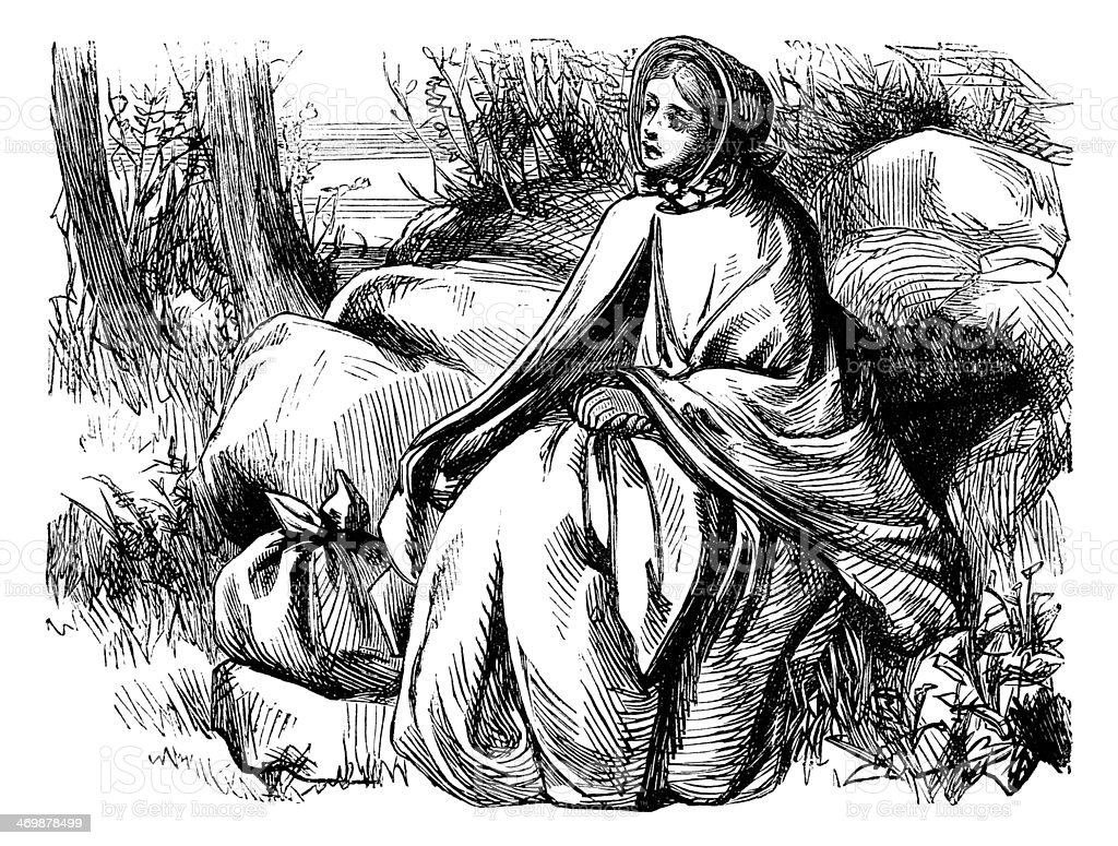 Lost-looking Victorian woman vector art illustration