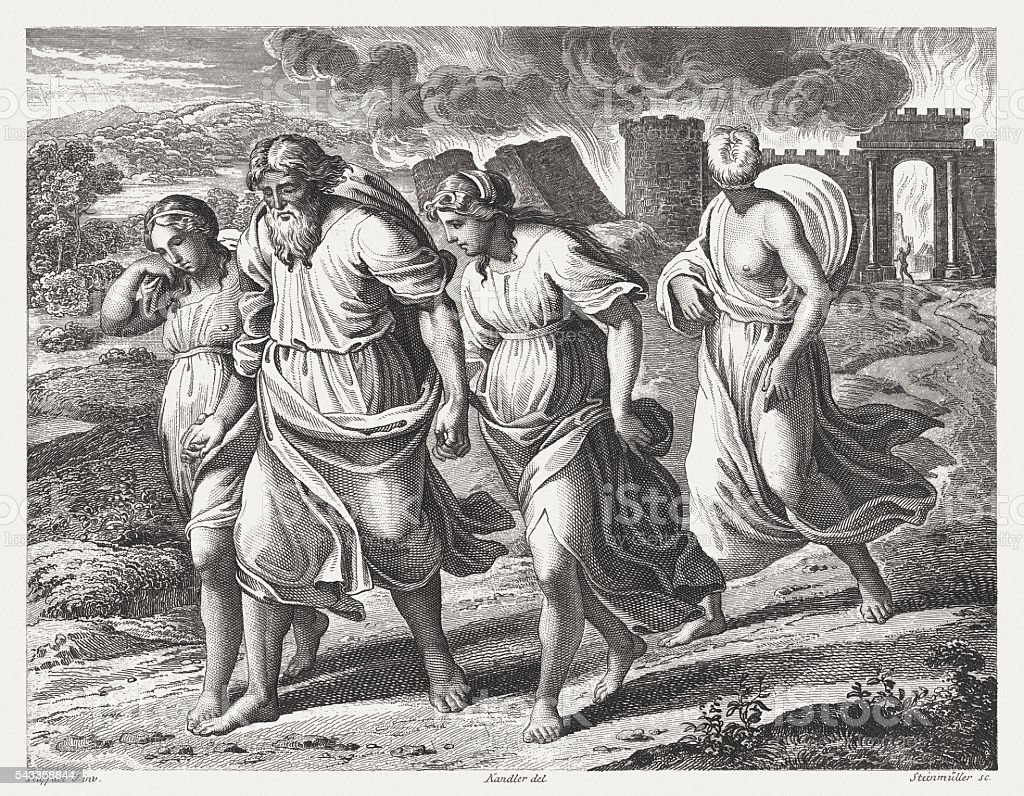 Lots escape from Sodom (Genesis 19), steel engraving, published 1841 vector art illustration