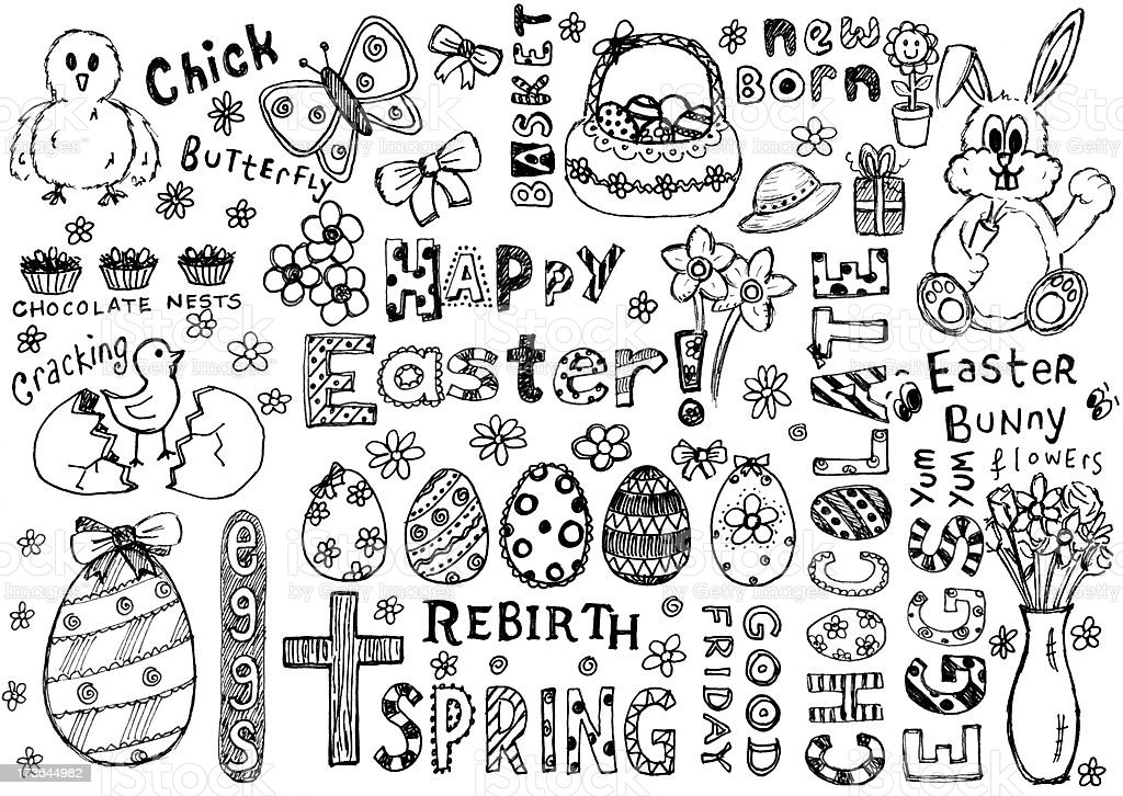 'Lots of easter doodles including eggs, bunny and a bonnet' vector art illustration