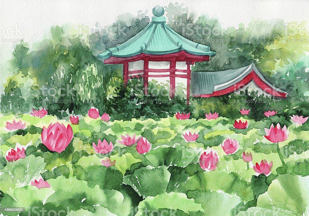 Lotus lake and Pagoda royalty-free stock vector art