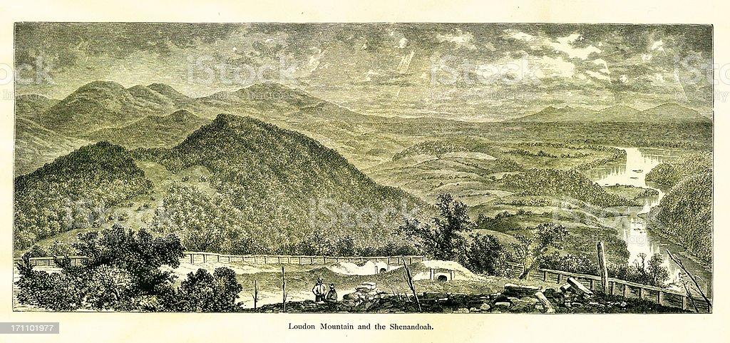 Loudoun Mountain and the Shenandoah River, West Virginia vector art illustration
