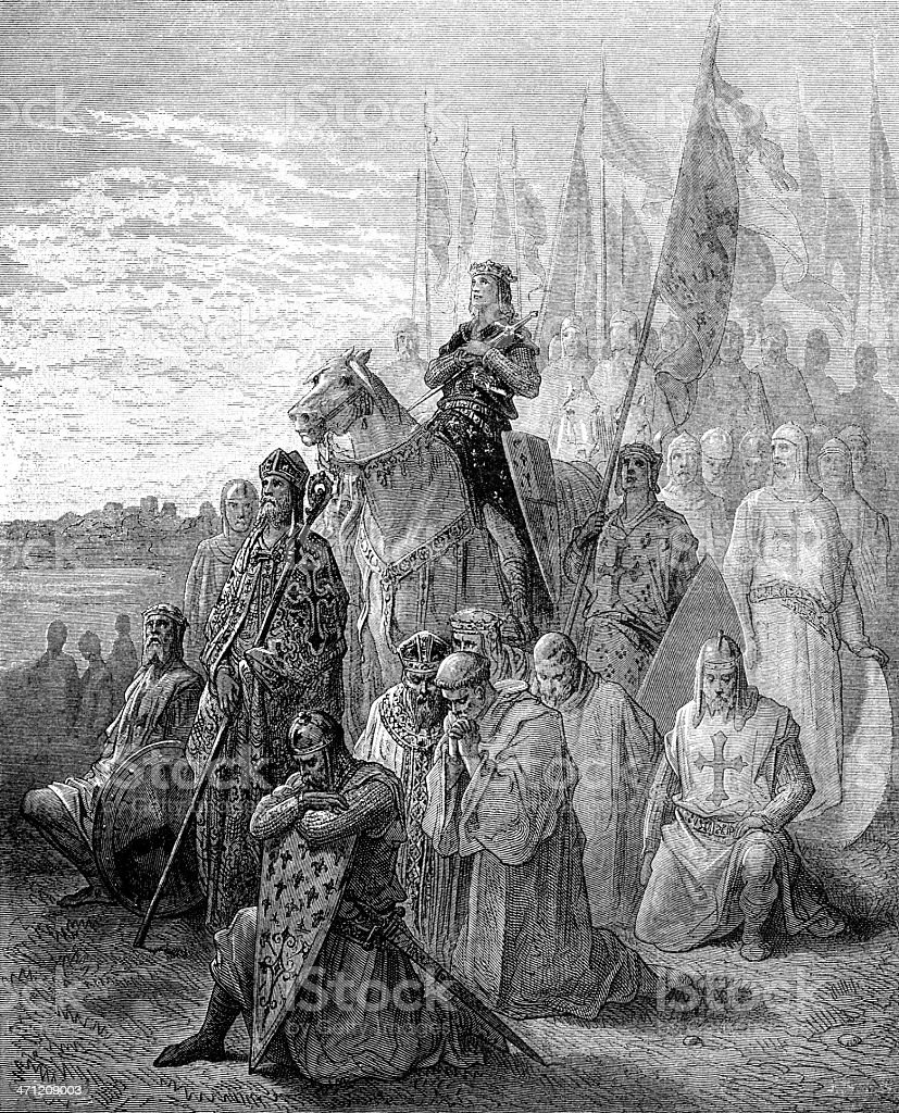 Louis IX before Damietta royalty-free stock vector art