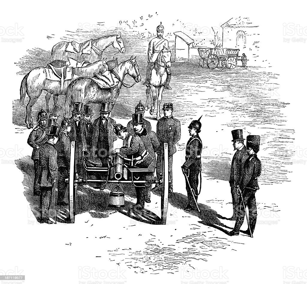 Louis Napoleon inspecting a Prussian battery vector art illustration