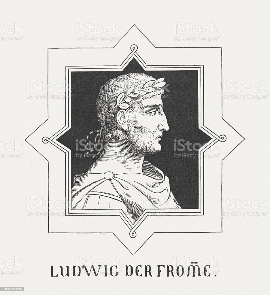 Louis the Pious (778-840), Holy Roman Emperor, published in 1876 vector art illustration