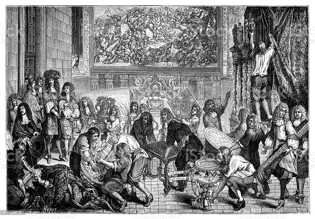 Louis XIV on a Visit - Antique Illustration royalty-free stock vector art