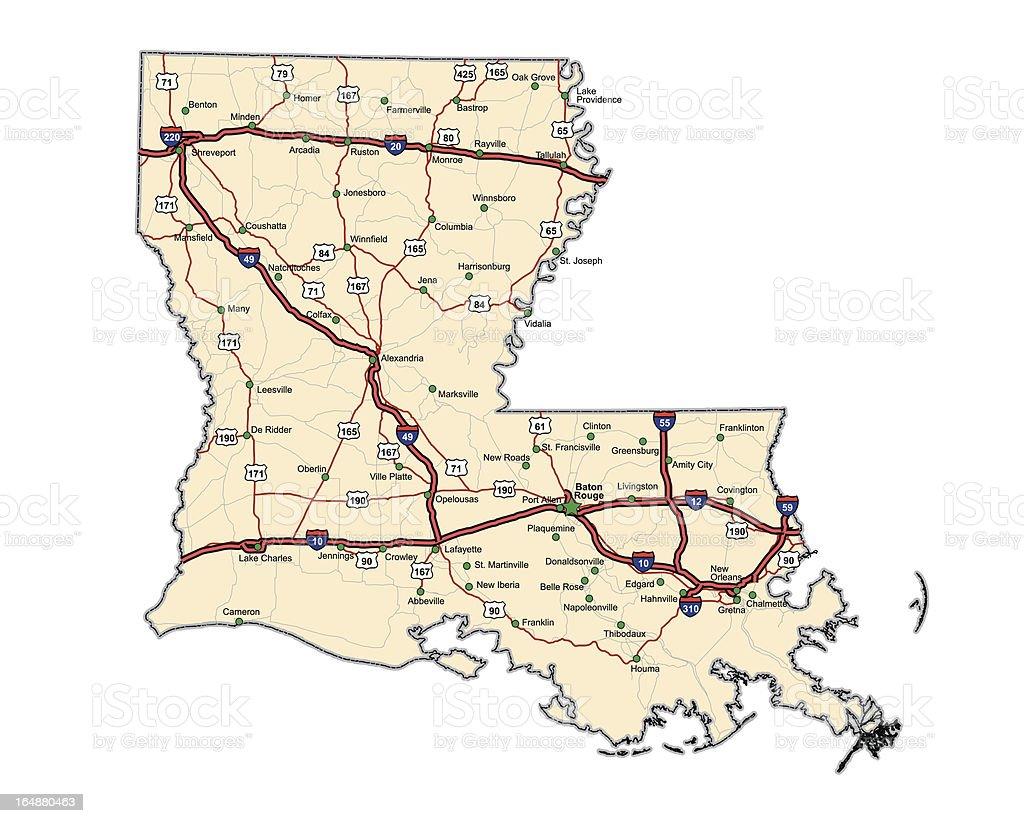 Louisiana Highway Map (vector) vector art illustration