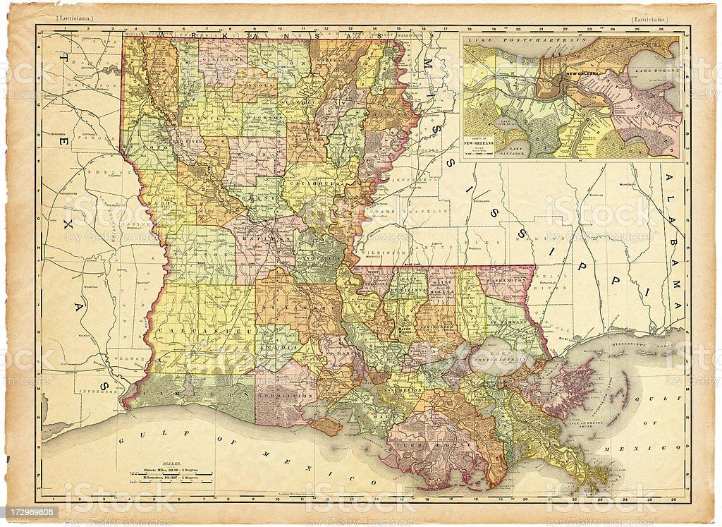 Louisiana Old Map vector art illustration