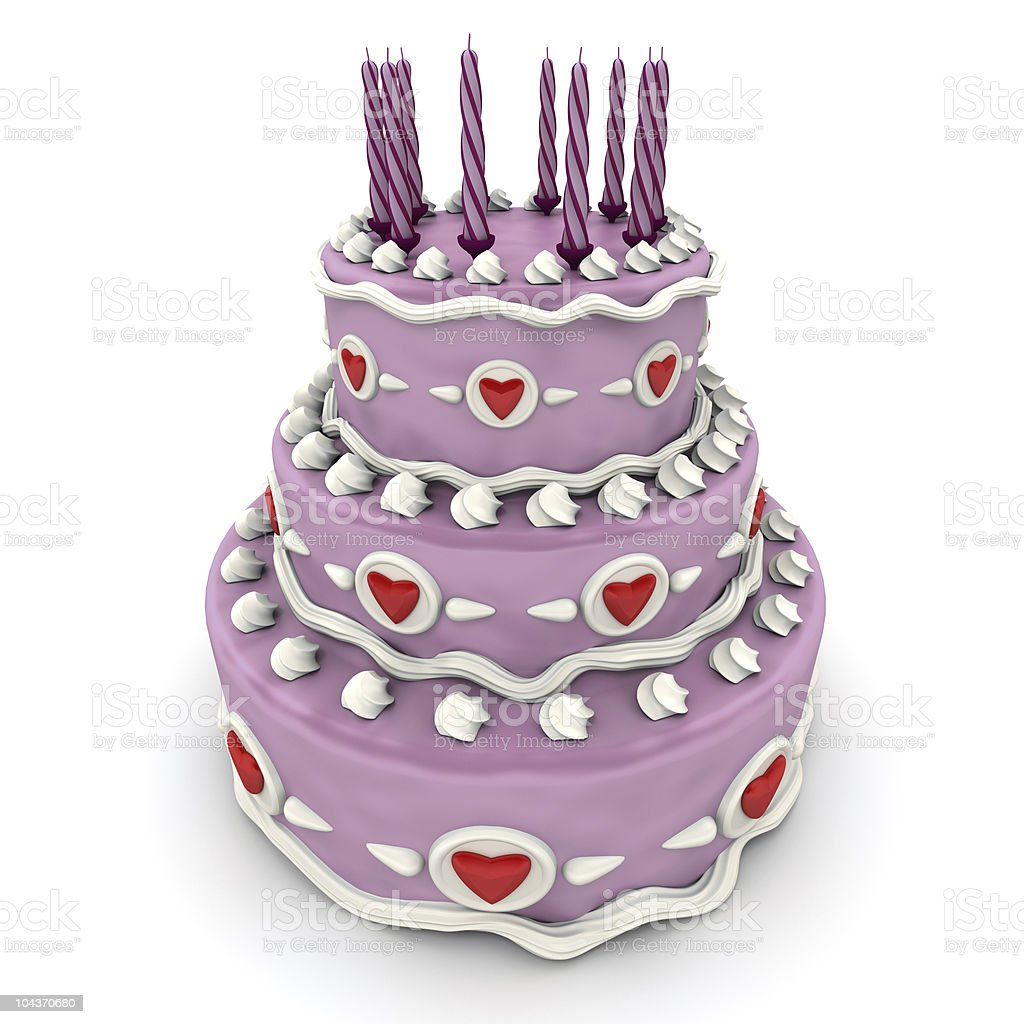 Love cake in pink royalty-free stock vector art