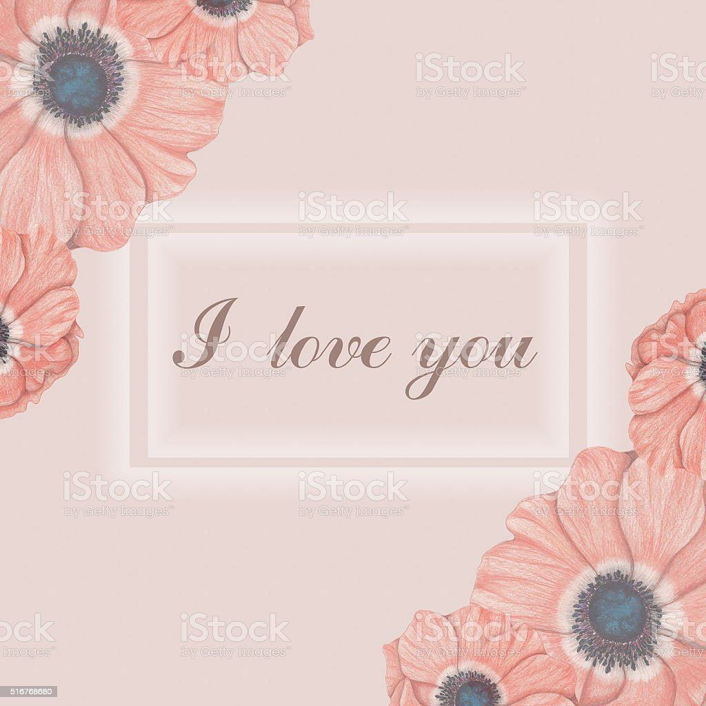 Love card with pink anemones vector art illustration