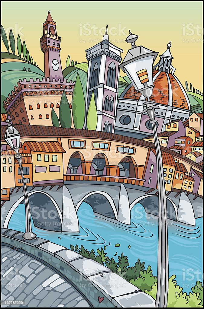 Love Florence vector art illustration