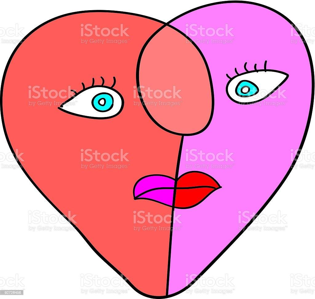 love heart fac vector art illustration