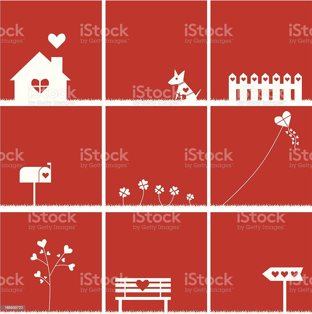 Love icons vector art illustration