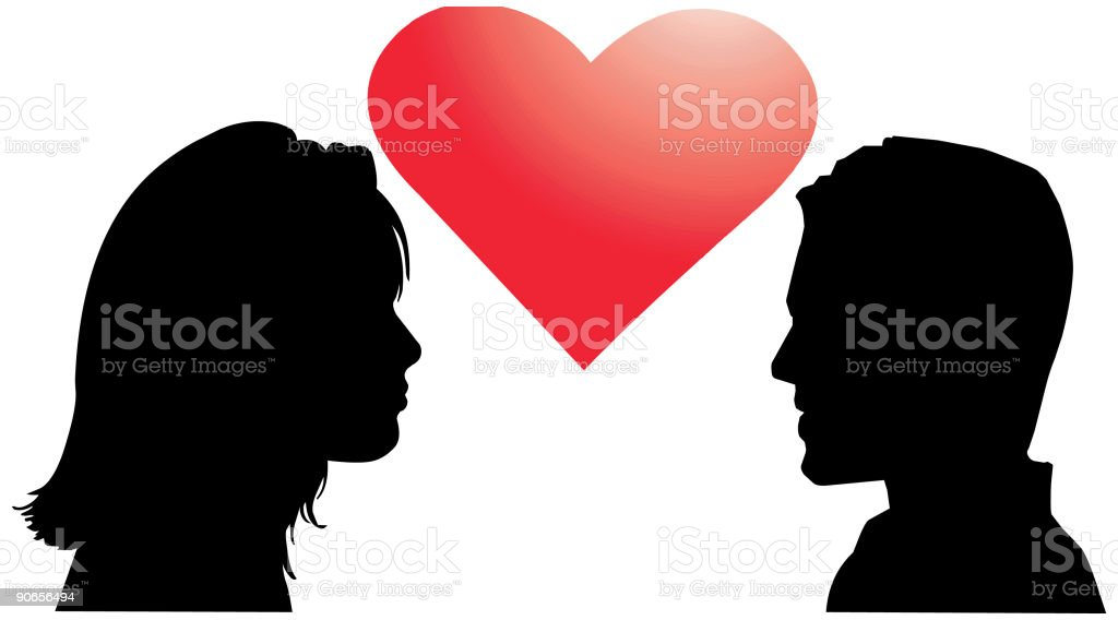 Love, men and women with heart - vector silhouette vector art illustration