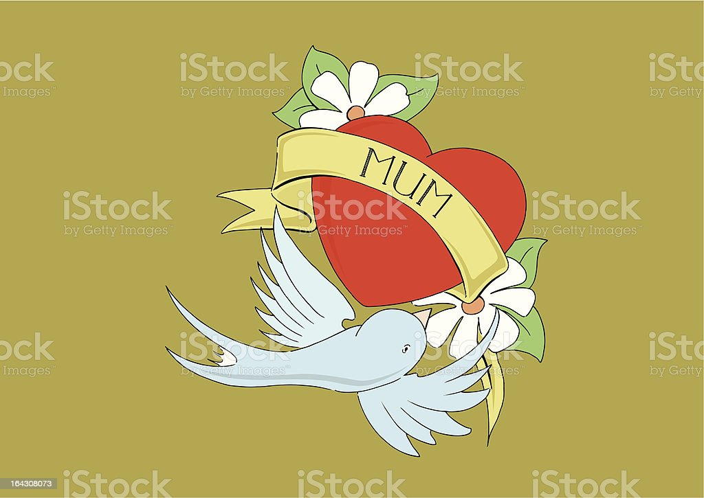Love Mum/Mom Tattoo Heart with Scroll royalty-free stock vector art
