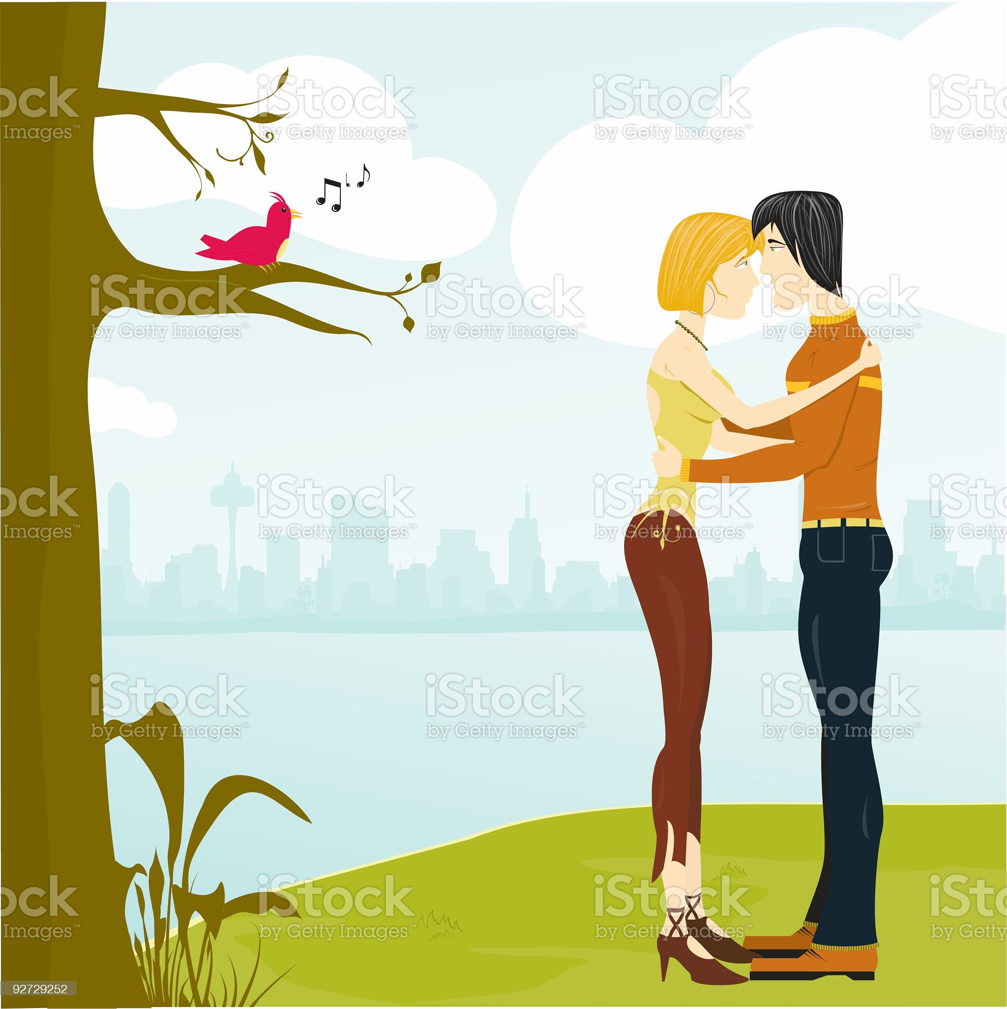 Love outside the City royalty-free stock vector art