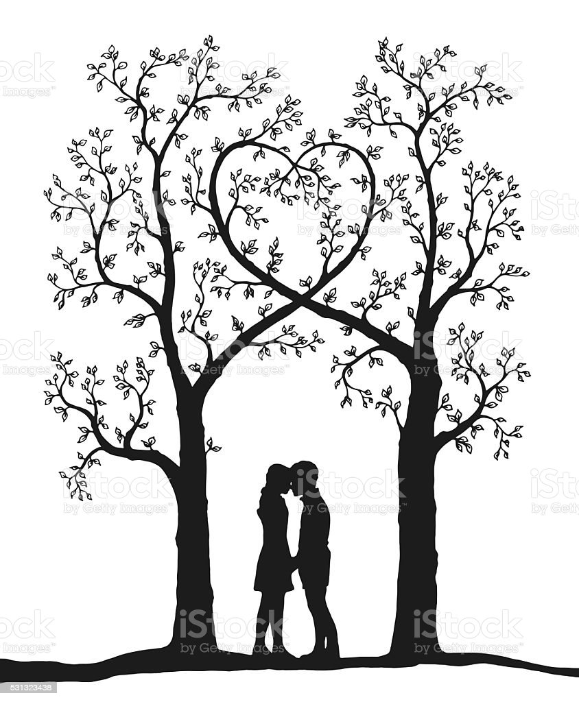 love tree draw on white vector art illustration