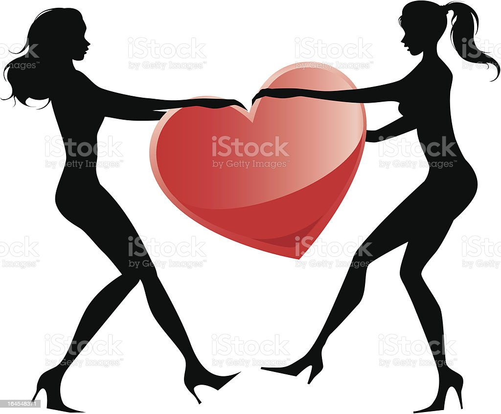 Love tug of war royalty-free stock vector art