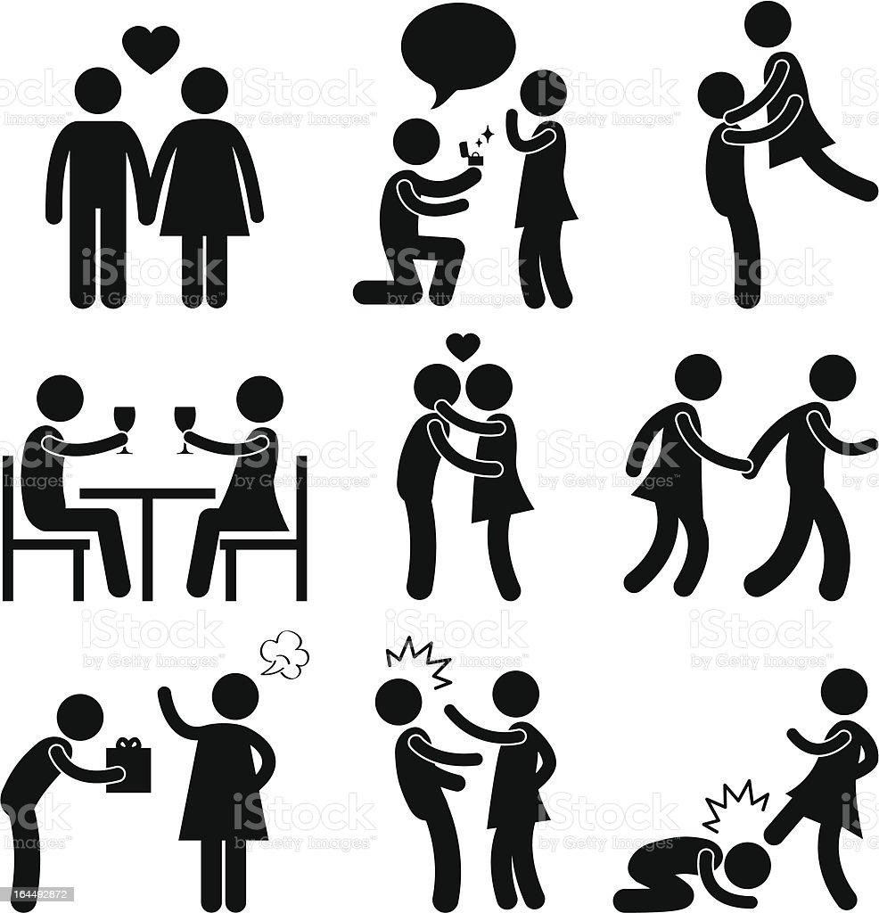 Lover Couple Love Proposal Pictogram vector art illustration