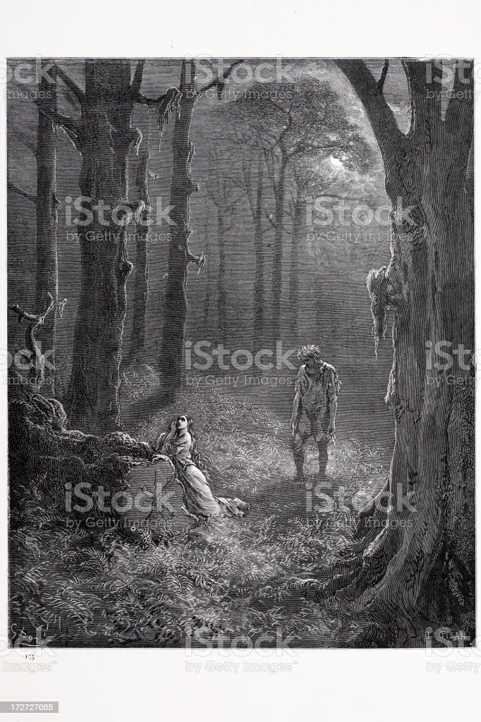 Lovers in the moonlit forest royalty-free stock vector art