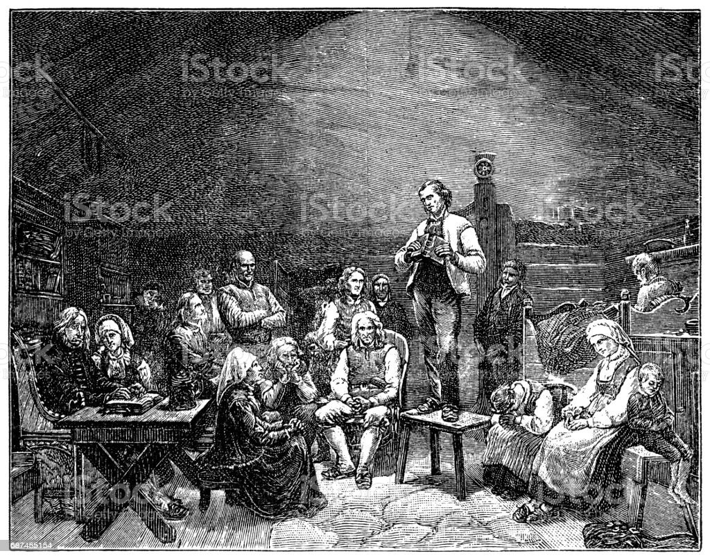 Low Church Devotion, 1848 by Adolph Tidemand vector art illustration
