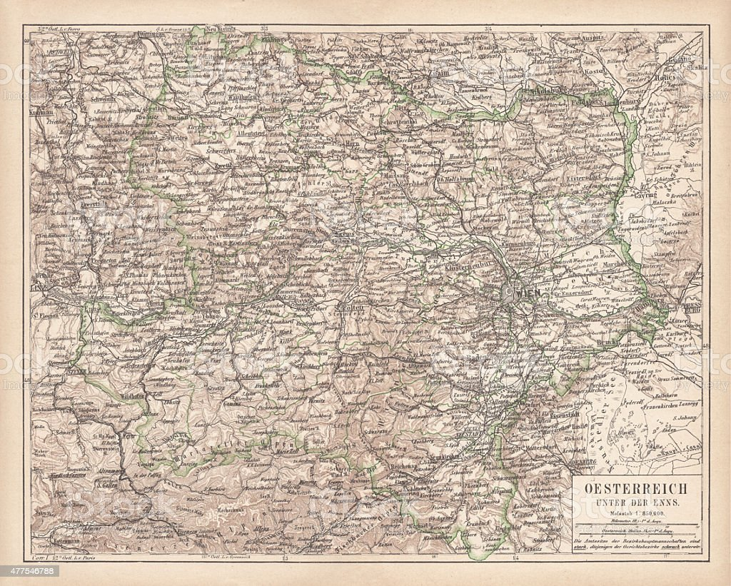 Lower Austria, lithograph, published in 1877 vector art illustration